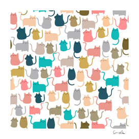 cute seamless pattern happy kitty kitten cat