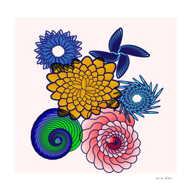 beautiful colorful floral and spiral graphics