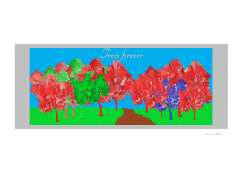 Abstract art painting of trees forever