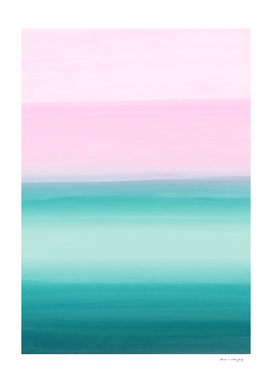 Touching Seafoam Teal Pink Watercolor Abstract #1 #painting
