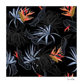 exotic flower leaves seamless pattern