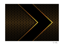 black arrow gold line hexagon mesh pattern