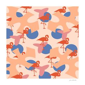 Flamingo coral vs blue motif