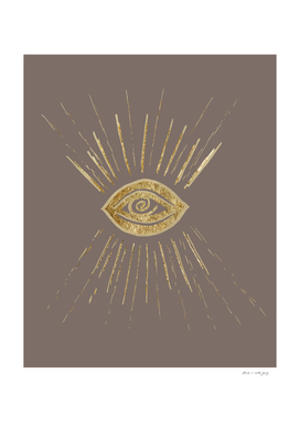 Evil Eye Gold on Brown #1 #drawing #decor #art