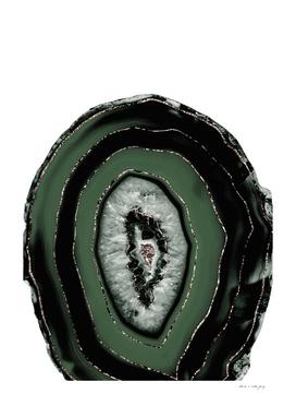 Green Black Agate with Rose Gold Glitter #1 #gem #decor #art