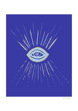 Evil Eye Soft Blue Gold on Blue #1 #drawing #decor #art