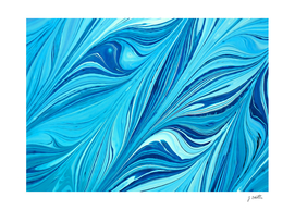 Blue abstract leaves