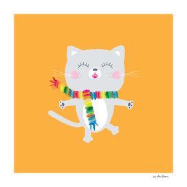 Grey cat with colorful scarf