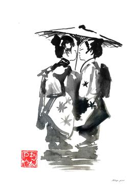 two girls in komono