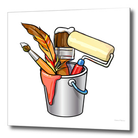 Bucket with brushes