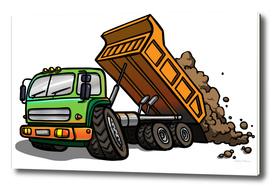 Cartoon tipper truck.