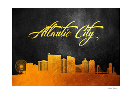 Atlantic City New Jersey Gold Skyline