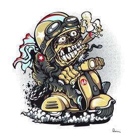 scooter motorcycle boot cartoon vector