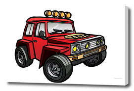 Cartoon red vehicle.