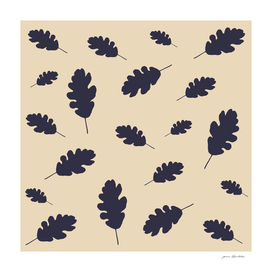 Fall pattern blue oak leaves