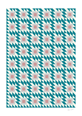 Abstract Contemporary Geometric Pink and Green Retro Pattern