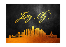 Jersey City New Jersey Gold Skyline