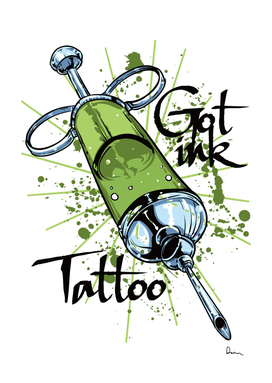Tattoo ink abstract vector needle green