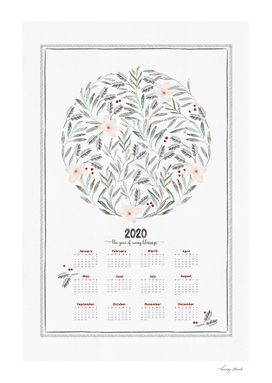 2020  Calendar The Year of Many Blessings
