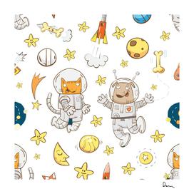 Astronaut dog cat clip art kitten