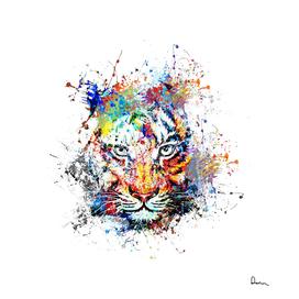 creative color ink splash tiger avatar