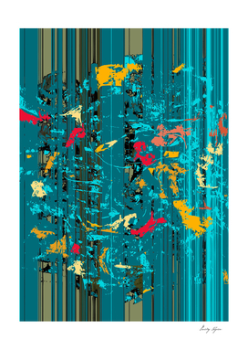 Abstract art colorful background of lines and ink spl