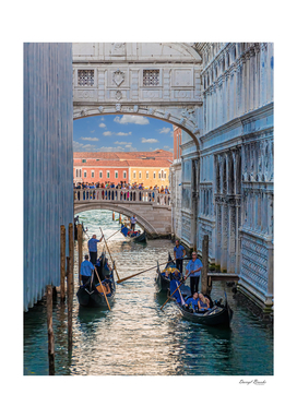 Gondolas Into Grand Canal