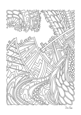 Wandering 01: black & white line art