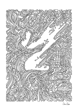 Wandering 05: black & white line art