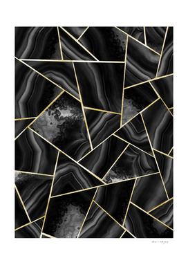 Black Night Agate Gold Geometric Glam #4 #geo #decor #art