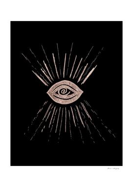 Evil Eye Rose Gold on Black #1 #drawing #decor #art