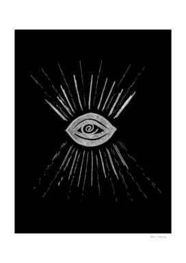 Evil Eye Silver on Black #1 #drawing #decor #art