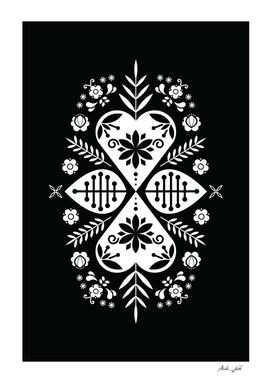 Black and White Scandi Folk Pattern Art