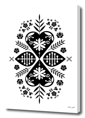 Monochrome Scandi Folk Pattern Art