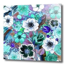 Boho Flowers Pattern Blue