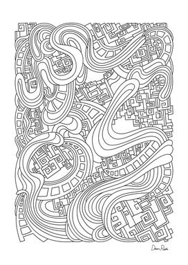 Wandering 45: black & white line art