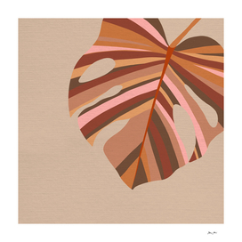 Earthy Monstera Leaf - Terracotta, taupe & pink