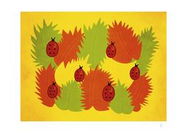 Autumn Leaves And Ladybugs