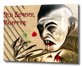 Portrait of Old School Vampire with Red Rose