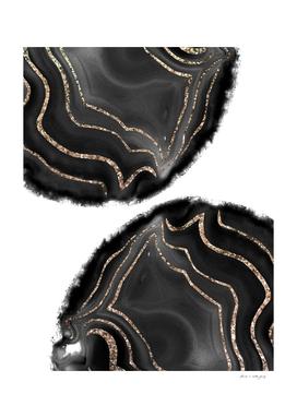 Black Agate Gold Glitter Glam #1 #gem #decor #art