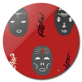 Tribal Masks and Tats on Red