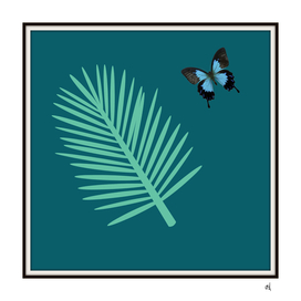 Blue Butterfly and Palm