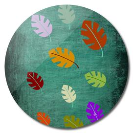 Fallen Leaves on Green Slate, Minimalist Art