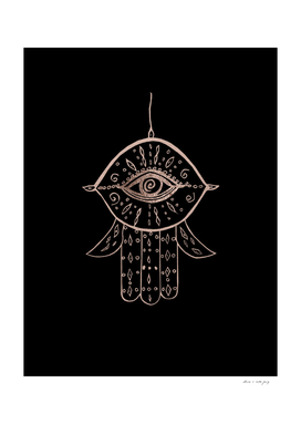 Hamsa Hand Rose Gold on Black #1 #drawing #decor #art