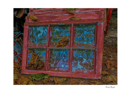 Red Painted Windows-