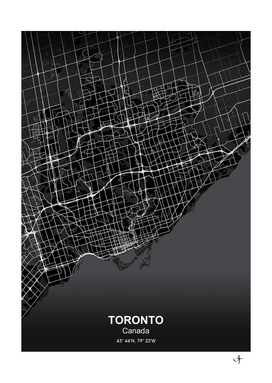 Toronto city map black