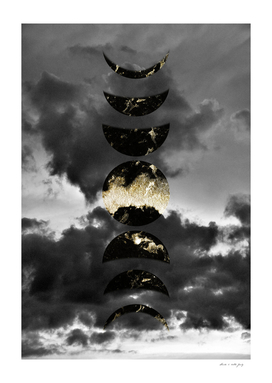 Mystical Moon Phases #1 #gold #black #decor #art