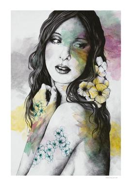 Shame On You (flowers tattoo nude lady portrait)