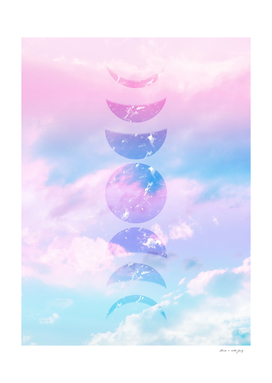 Unicorn Pastel Clouds Moon Phases #1 #decor #art