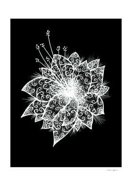 Orchid Lineart white on black